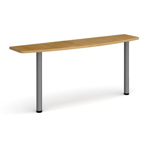 D-end desk extension table 1600mm wide with graphite legs - oak top