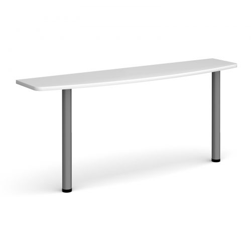 D-end desk extension table 1600mm wide with graphite legs - white top