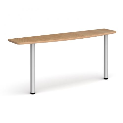 D-end desk extension table 1600mm wide with silver legs - beech top