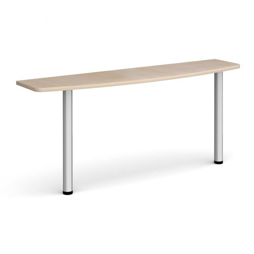 D-end desk extension table 1600mm wide with silver legs - maple top