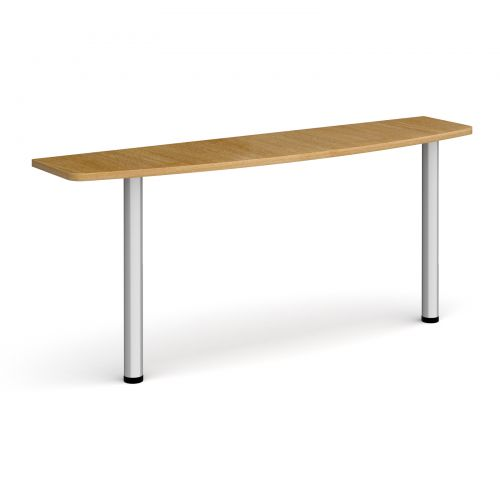 D-end desk extension table 1600mm wide with silver legs - oak top