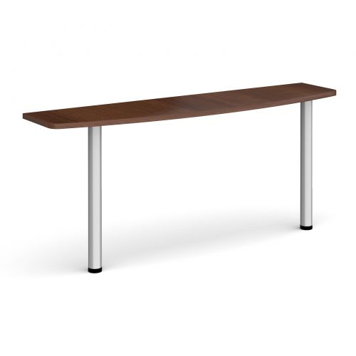 D-end desk extension table 1600mm wide with silver legs - walnut top