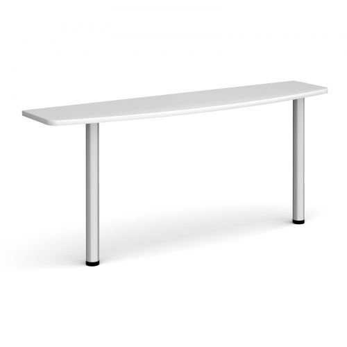 D-end desk extension table 1600mm wide with silver legs - white top