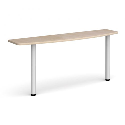 D-end desk extension table 1600mm wide with white legs - maple top