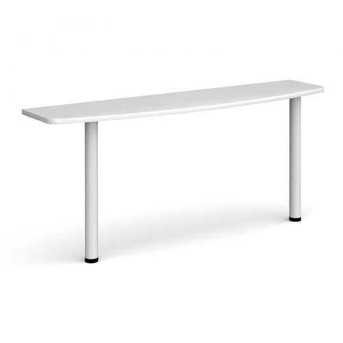 D-end desk extension table 1600mm wide with white legs - white top