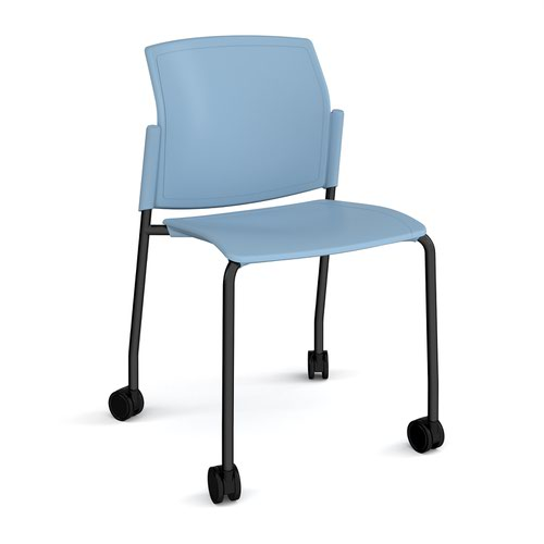 Image for Santana 4 leg mobile chair with plastic seat and back plus black frame with castors and no arms - blue