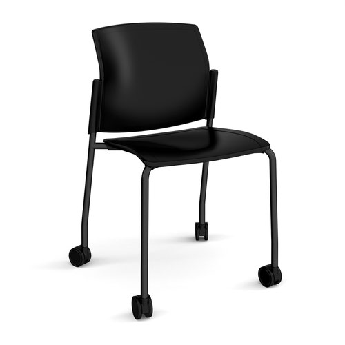 Image for Santana 4 leg mobile chair with plastic seat and back plus black frame with castors and no arms - black
