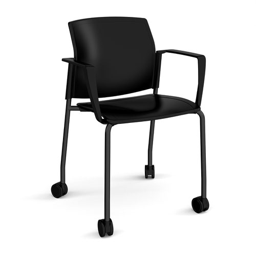 Image for Santana 4 leg mobile chair with plastic seat and back plus black frame with castors and fixed arms - black