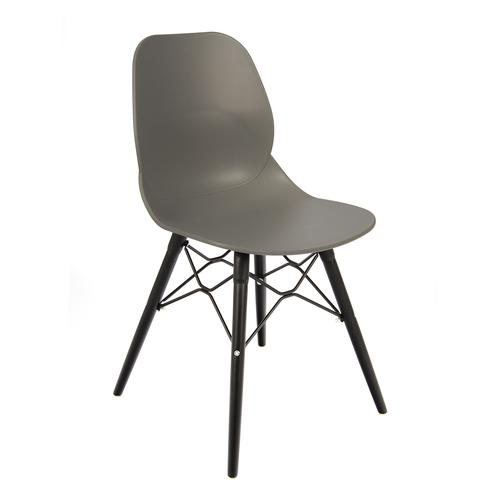 Image for Strut multi-purpose chair with black steel 4 leg frame and interlocking detail - grey