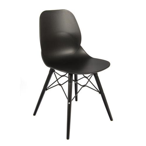 Image for Strut multi-purpose chair with black steel 4 leg frame and interlocking detail - black