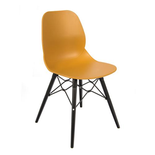 Image for Strut multi-purpose chair with black steel 4 leg frame and interlocking detail - mustard