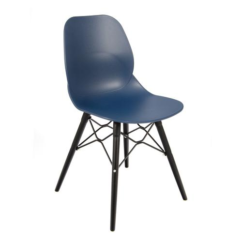 Image for Strut multi-purpose chair with black steel 4 leg frame and interlocking detail - navy blue