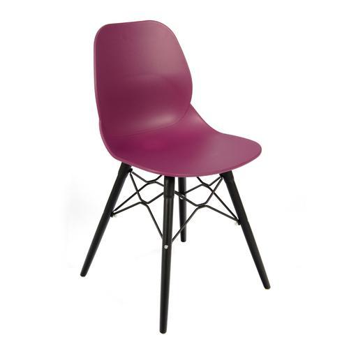 Image for Strut multi-purpose chair with black steel 4 leg frame and interlocking detail - plum