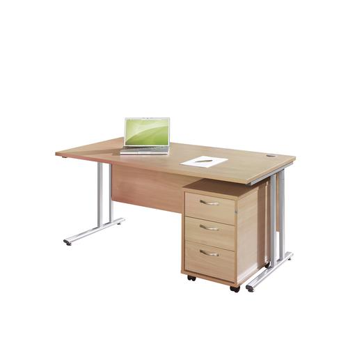 Image for Maestro 25 SL straight desk 1600mm x 800mm with silver cantilever frame and 3 drawer pedestal - beech