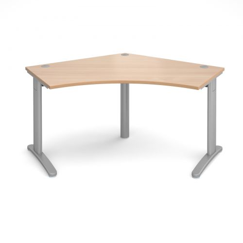 Image for TR10 120 degree desk 1000mm x 1000mm x 600mm - silver frame and beech top