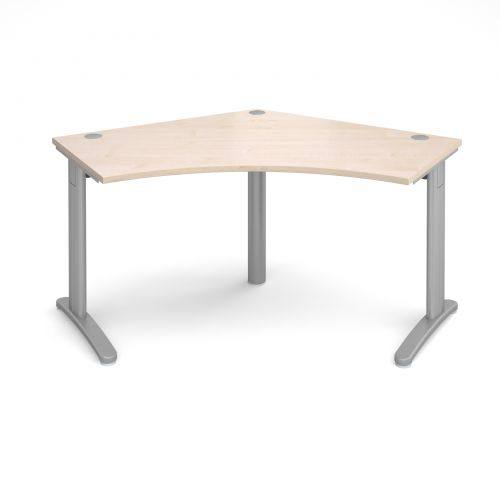 Image for TR10 120 degree desk 1000mm x 1000mm x 600mm - silver frame and maple top