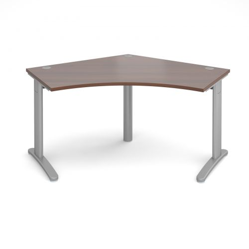 TR10 120 degree desk 1000mm x 1000mm x 600mm - silver frame and walnut top