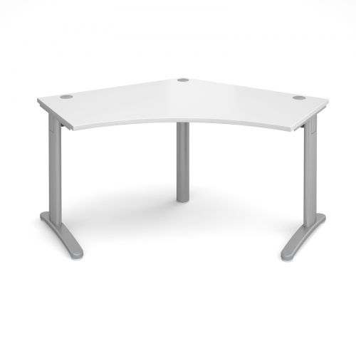 Image for TR10 120 degree desk 1000mm x 1000mm x 600mm - silver frame and white top