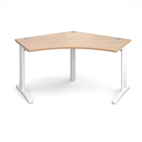 Image for TR10 120 degree desk 1000mm x 1000mm x 600mm - white frame and beech top
