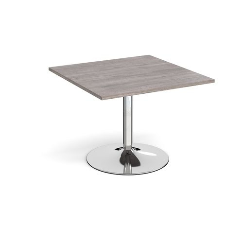 Trumpet base square extension table 1000mm x 1000mm - chrome base and grey oak top