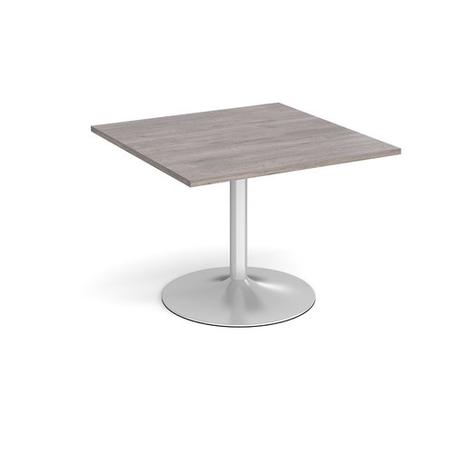 Trumpet base square extension table 1000mm x 1000mm - silver base and grey oak top