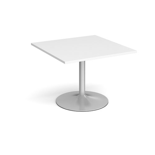 Trumpet Base Square Extension Table 1000mm X 1000mm Silver Base White Top