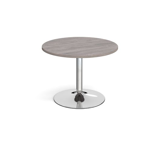 Trumpet base circular boardroom table 1000mm - chrome base and grey oak top