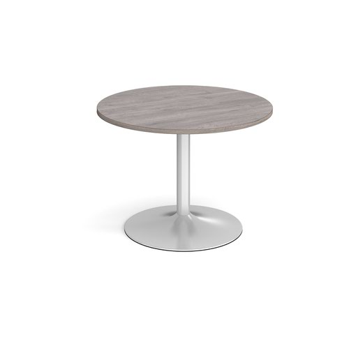 Trumpet base circular boardroom table 1000mm - silver base and grey oak top