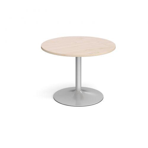 Trumpet Base Circular Boardroom Table 1000mm Silver Base Maple Top