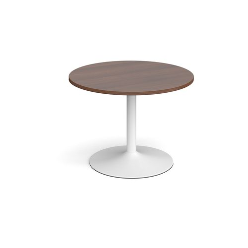 Trumpet base circular boardroom table 1000mm - white base and walnut top