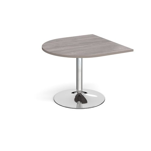Trumpet base radial extension table 1000mm x 1000mm - chrome base and grey oak top