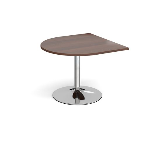 Trumpet base radial extension table 1000mm x 1000mm - chrome base and walnut top