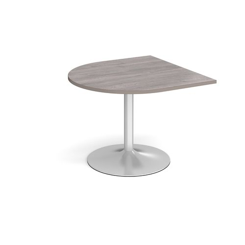 Trumpet base radial extension table 1000mm x 1000mm - silver base and grey oak top
