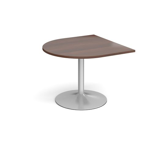Trumpet Base Radial Extension Table 1000mm X 1000mm Silver Base Walnut Top