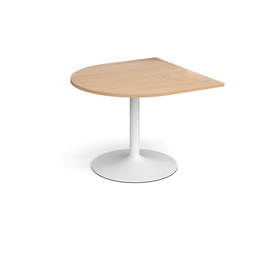 Trumpet base radial extension table 1000mm x 1000mm - white base and beech top