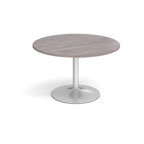 Trumpet base circular boardroom table 1200mm - silver base and grey oak top