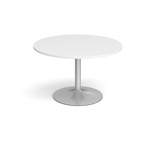 Trumpet Base Circular Boardroom Table 1200mm Silver Base White Top