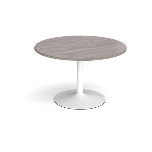 Trumpet base circular boardroom table 1200mm - white base and grey oak top