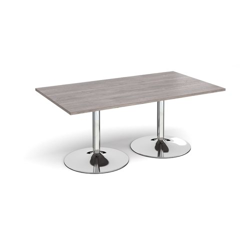 Trumpet base rectangular boardroom table 1800mm x 1000mm - chrome base and grey oak top