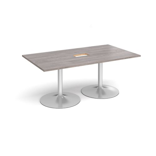 Trumpet base rectangular boardroom table 1800mm x 1000mm with central cutout 272mm x 132mm - silver base and grey oak top