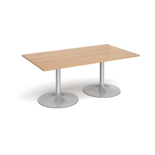 Trumpet base rectangular boardroom table 1800mm x 1000mm - silver base and beech top