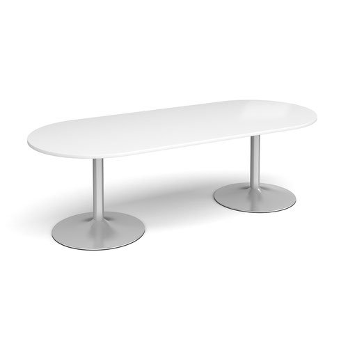Trumpet Base Radial End Boardroom Table 2400mm X 1000mm Silver Base White Top