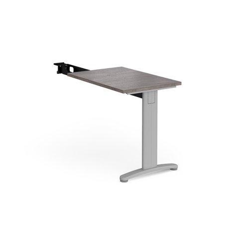 TR10 single return desk 800mm x 600mm - silver frame and grey oak top
