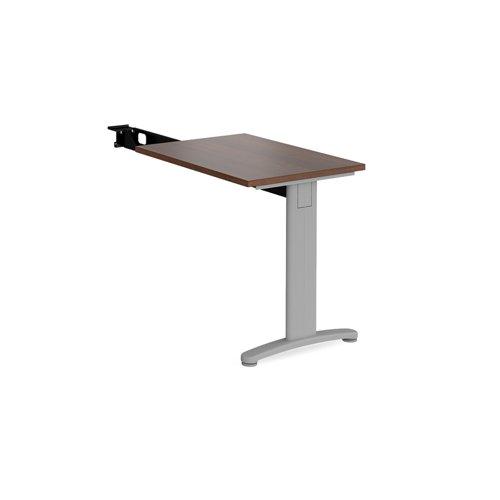 TR10 single return desk 800mm x 600mm - silver frame and walnut top