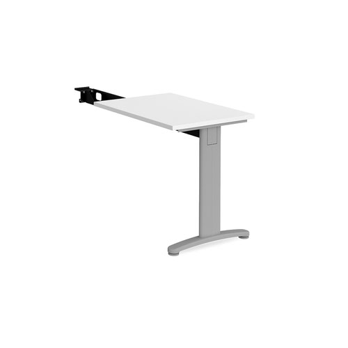 TR10 single return desk 800mm x 600mm - silver frame and white top