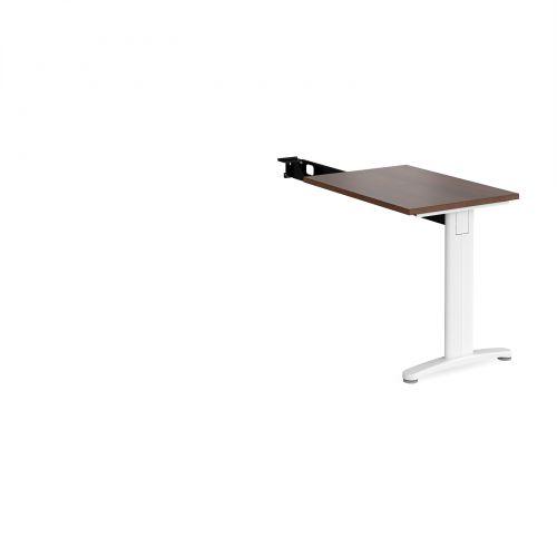TR10 single return desk 800mm x 600mm - white frame and walnut top