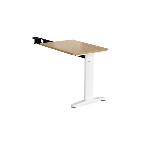 TR10 single return desk 800mm x 600mm - white frame and oak top