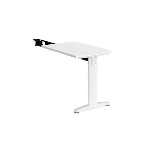 TR10 single return desk 800mm x 600mm - white frame and white top