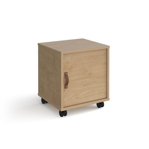 Universal mobile pedestal with cupboard door 400mm deep - oak with oak door