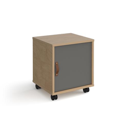 Universal mobile pedestal with cupboard door 400mm deep - oak with grey door